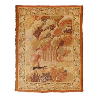 """Antique Old World Hunting Tapestry, Circa 1900, 4'10"""" X 6'5"""" For Sale"""