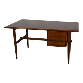 Trapezoidal Mid-Century Modern Banded Edge Desk in Walnut For Sale