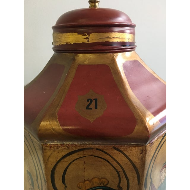 Vintage Tole Octogan Hand Painted Lamp - Image 7 of 11
