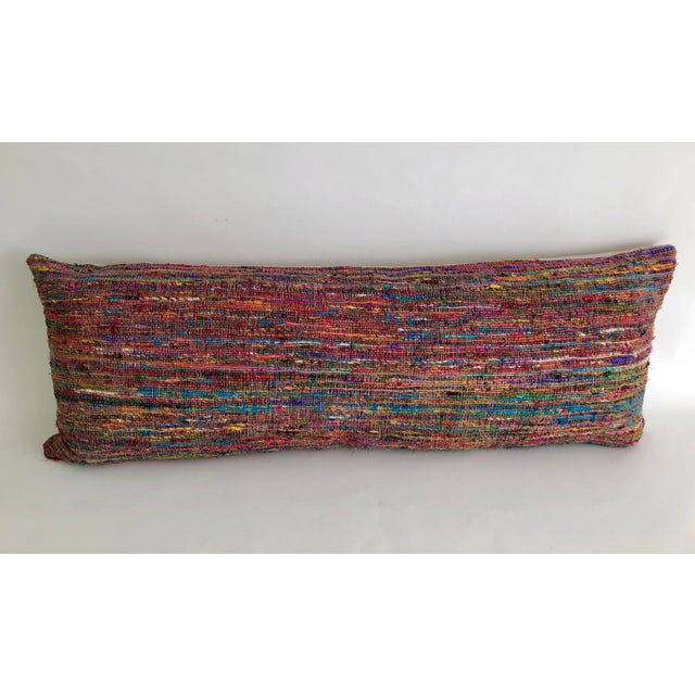 Feather Hand-Woven Silk and Linen Pillow For Sale - Image 7 of 9