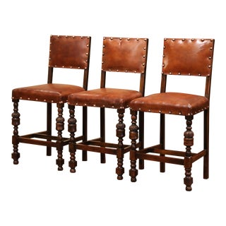 19th Century French Carved Oak and Brown Leather Bar Stools, Set of Three For Sale