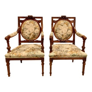 French Louis XVI Solid Mahogany Accent Chairs or Bergère Chairs 1920s - a Pair For Sale