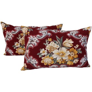 Floral Bouquet Pillows - A Pair For Sale