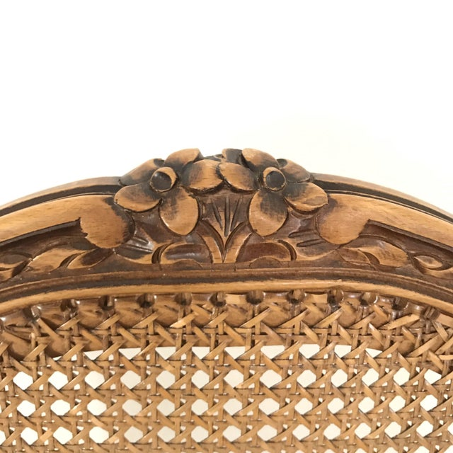 French Classic Antique Set of 6 Louis XV Carved Walnut & Caned Dining Chairs For Sale - Image 3 of 13