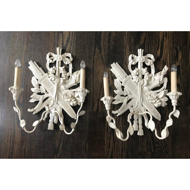 1940s Palladio Italian Lighted Double Sconces With Arrows, Torch and Rose - a Pair For Sale - Image 9 of 9