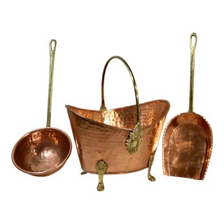 Late 20th Century Hand Hammered Copper Bucket With Shovel and Ladle Brass Handles - Set of 3 For Sale