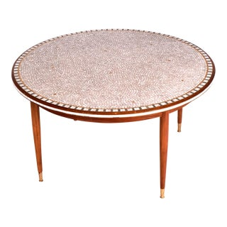 Coffee Table Mosaic Brass and Blond Mahogany, Italy 1960