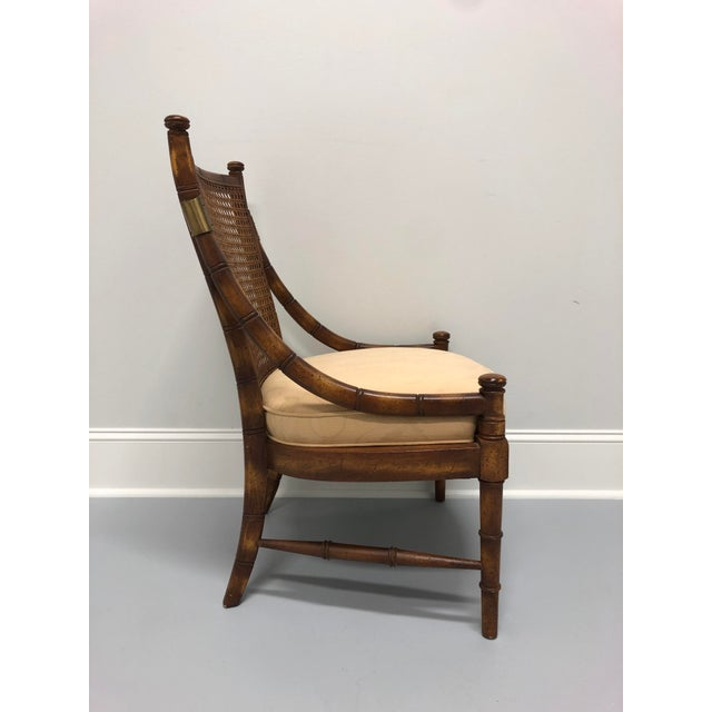Vintage Mid Century Faux Bamboo Caned Lounge Chair For Sale - Image 4 of 12