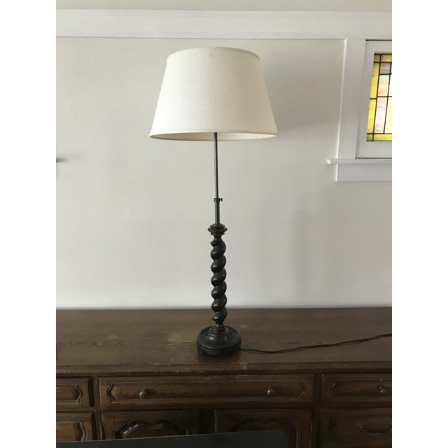 Vintage Adjustable Barley Twist Table Lamp With Shade For Sale - Image 9 of 12