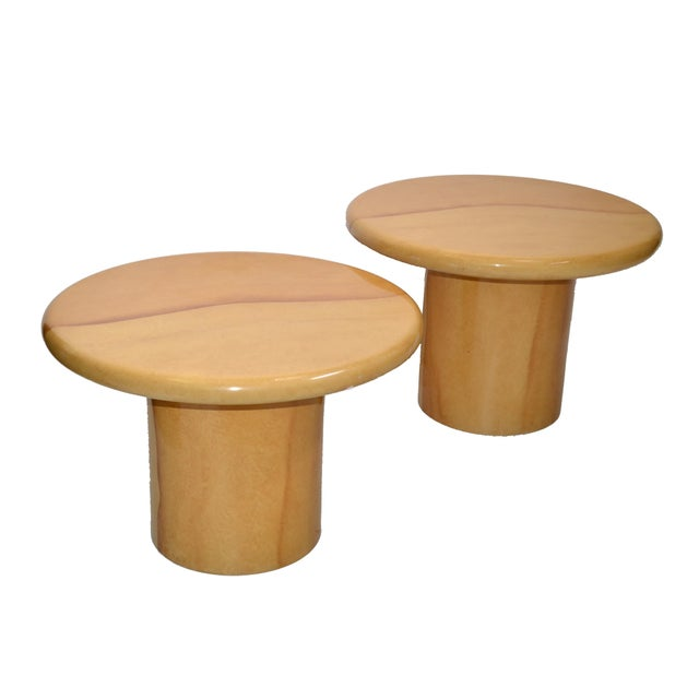Mid-Century Modern Karl Springer Style Lacquered Goatskin Top Side Tables Mid-Century Modern - Pair For Sale - Image 3 of 13