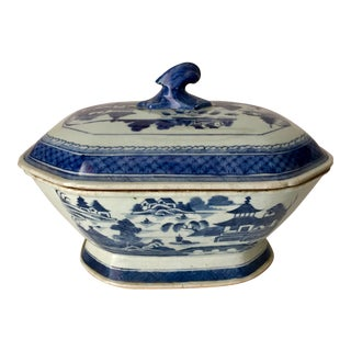 "13""Chinese Canton Export Blue & White Tureen & Lid For Sale"