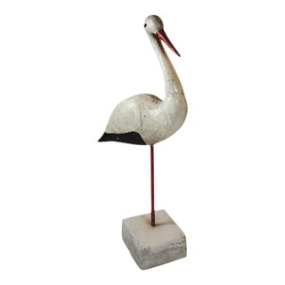 Antique Concrete Shore Bird For Sale