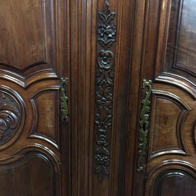 Brown Grand 19th Century Country French Solid Walnut Armoire, Circa 1850 For Sale - Image 8 of 11
