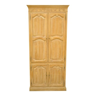 Vintage French Country Provincial Style Cerused Oak Tv Cabinet Armoire For Sale
