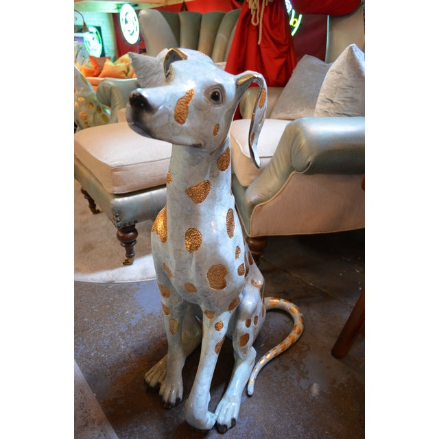 Blue Life Size Hand Made Glazed Old Lost Wax Bronze Dalmation Statue For Sale - Image 8 of 8