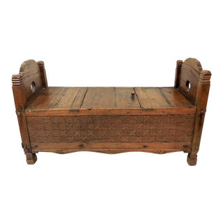 Unusual Vintage Hand Carved Indian Teak Trunk, Blanket Box, Ottoman or Low Table For Sale