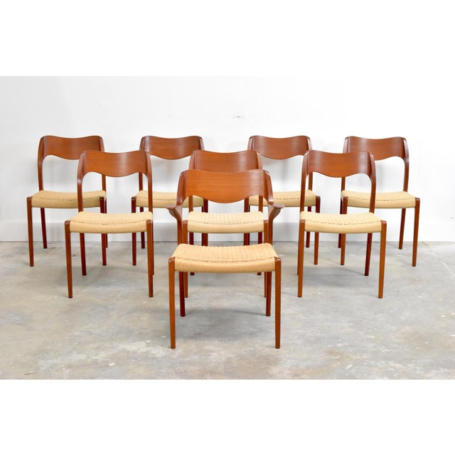 j.l. Møller Model 71/55 Teak & Danish Cord Dining Chairs - Set of 8 For Sale - Image 13 of 13