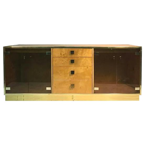 MAGNIFICENT BURL WOOD FOUR-DRAWER SIDEBOARD OR CREDENZA BY MILO BAUGHMAN For Sale