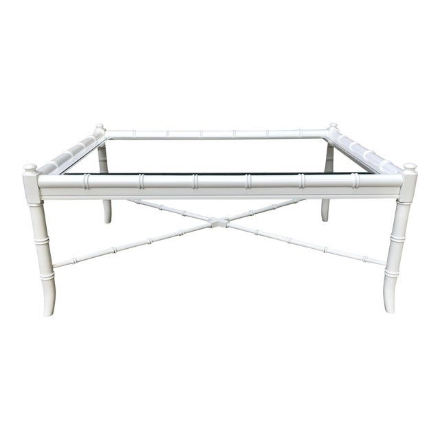 Thomasville Lacquered Faux Bamboo Coffee Table For Sale