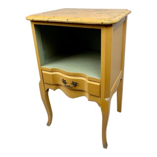 Louis XV French Style Occasional Yellow Table With Faux Marble Top For Sale