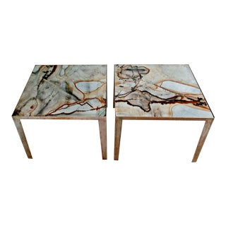 Florence Knoll Side Tables With Marble Tops - a Pair For Sale