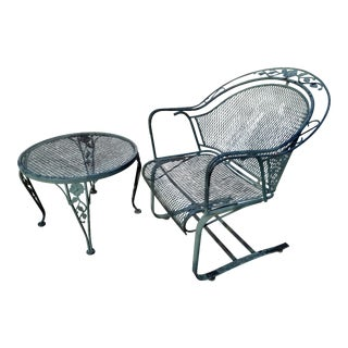 Mid Century Russell Woodard Wrought Iron Bouncy Chair & Side Table Last Markdown For Sale