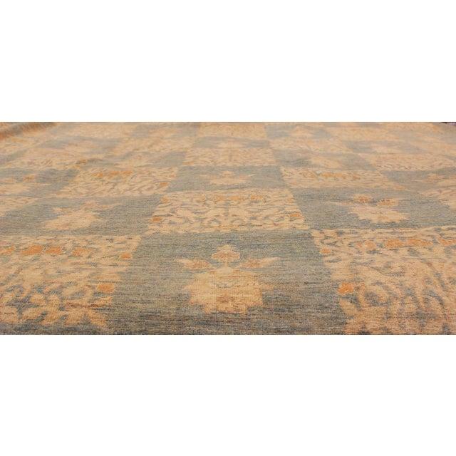 "Contemporary Kafkaz Peshawar Sarina Blue & Gold Wool Rug - 12' x 17'4"" For Sale - Image 3 of 7"