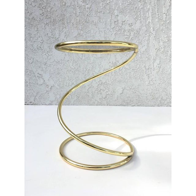 Mid-Century Modern Brass and Bronze Glass Spiral Occasional Tables by Pace Collection - A Pair For Sale - Image 3 of 9