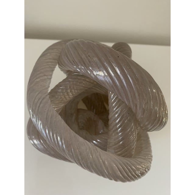 Licio Zanetti Mid 20th Century Twisted Rope Glass Knot Sculpture For Sale - Image 4 of 10