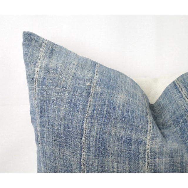 Shabby Chic Vintage Blue Distressed Denim Pillow For Sale - Image 3 of 10