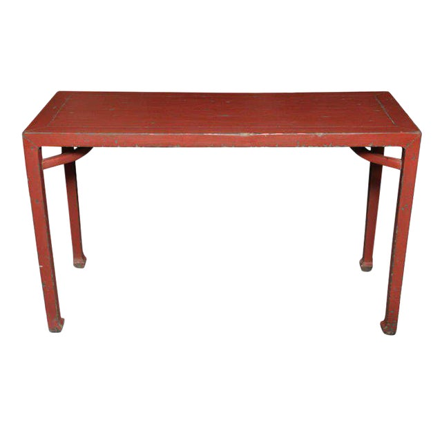 Antique Linen Covered Red Lacquered Elmwood Console Table, 19th Century China For Sale