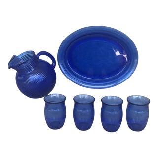 Vintage Cobalt Blue Glass Lemonade Set- 6 Pieces For Sale