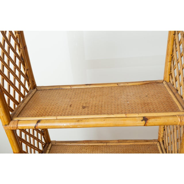 Bamboo 1960s Boho Chic Bamboo and Wicker Rattan Etagere For Sale - Image 7 of 11