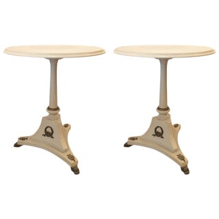 Gustavian French Directoire Gray Side Tables - A Pair