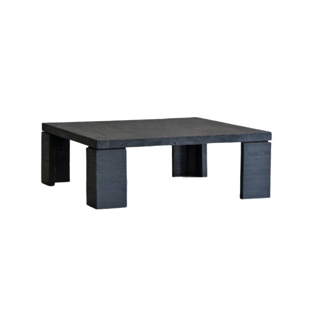 Showstopper reclaimed elm coffee table in charcoal / black. This table was made custom made in North Carolina from timbers...