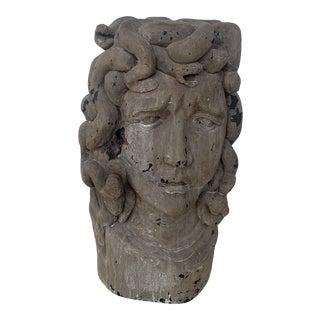 Italian Vintage Wood Medusa Carving For Sale