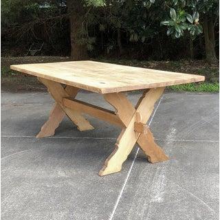 Antique Rustic Stripped Oak Trestle Table Preview