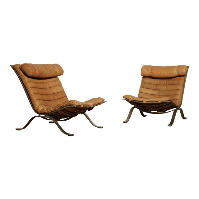 Pair of Arne Norell Tan Leather Ari Chairs, Norell Mobler, Sweden, 1970s For Sale