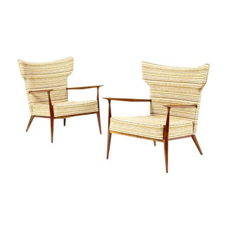 Mid Century Wingback Lounge Chairs by Paul McCobb for Directional - a Pair For Sale