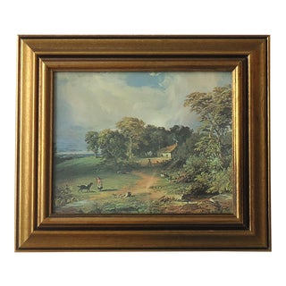 Vintage English Old Master Country Landscape Print For Sale