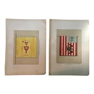 19th Century Antique Civil War Era Military Flag Lithograph Prints - A Pair For Sale