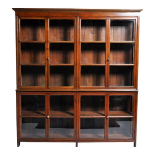 British Colonial Bookcase With 4 Pairs of Doors For Sale