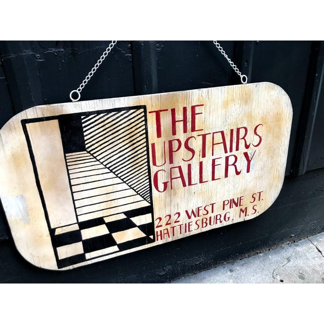 "Vintage 1960s-70s ""Upstairs Gallery"" painted wooden 2-sided sign on hanging chain. Some discoloration and paint crackling..."