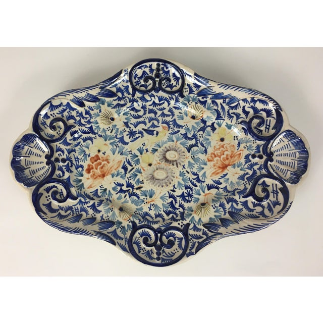 Blue 19th Century Rouen French Traditional Hand-Painted Serving Platter For Sale - Image 8 of 8