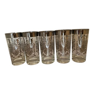 1960s Mid-Century Kimiko Silver Knight Shield Highball Cocktail Glasses - Set of 5 For Sale