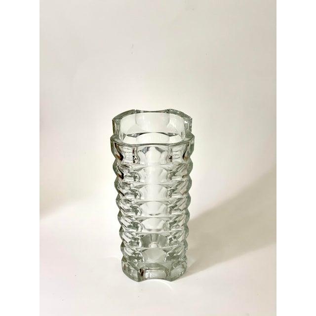 Mid-Century Modern Vintage Art Deco Geometric Pattern Heavy Cut Crystal Luminarc France Art Glass Windsor Vase For Sale - Image 3 of 7