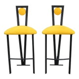 Image of 1970s Vintage Memphis Style Bar Stools- A Pair For Sale