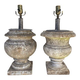 English Marble Unmatching Pair Lamps For Sale