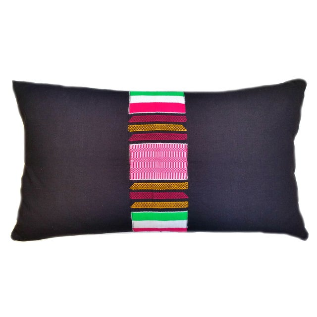 Vintage Linen African Kente Cloth Lumbar Pillow - Image 1 of 3