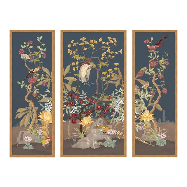 Forest & Pheasants by Allison Cosmos, Set of 3, in Gold Framed Paper, Large Art Print For Sale